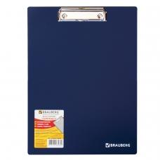 Доска-планшет BRAUBERG 'Contract', плотная, с верхним зажимом, А4, 313х225 мм, пластик, синяя, 1,5 мм, 223490