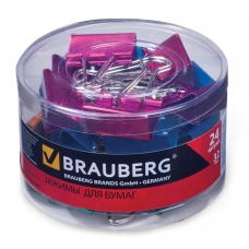 Зажимы для бумаг BRAUBERG, комплект 24 шт., 32 мм, на 140 л., цвет металлик, в пластиковом цилиндре, 223506