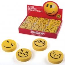 Резинки стирательные ПИФАГОР, набор 4 шт., 'Смайлики', желто-черные, в упаковке с подвесом, 223615