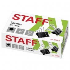 Зажимы для бумаг STAFF, комплект 12 шт., 19 мм, на 60 листов, черные, в картонной коробке, 224606