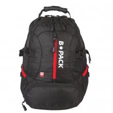 Рюкзак B-PACK 'S-03' БИ-ПАК универсальный, с отделением для ноутбука, увеличенный объем, черный, 46х32х26 см, 226949