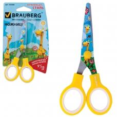 Ножницы BRAUBERG 'Жирафы', 130 мм, с цветной печатью жирафов, жёлтые, в картонной упаковке с европодвесом, 232269