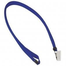 Лента для бейджей BRAUBERG, 45 см, с безопасным сцеплением, с клипом, синяя, 235725