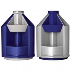 Подставка-органайзер СТАММ 'Mini Desk', вращающаяся, 107х107х140 мм, 10 отделений, серый металлик/темно-синий, ОР90