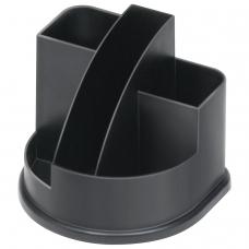 Подставка-органайзер СТАММ 'Авангард', 132х122х108 мм, 5 отделений, черная, ОР52