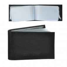 Визитница карманная BEFLER 'Грейд' на 40 визитных карт, натуральная кожа, тиснение, черная, K.5.-9