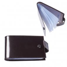 Визитница карманная BEFLER 'Classic' на 40 визиток, натуральная кожа, кнопка, коричневая, V.31.-1