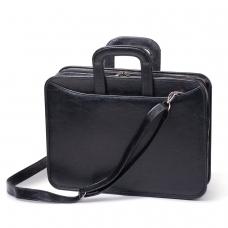 Портфель из кожзаменителя, 2 отделения, на молнии, 'Карьера', 36х31х7 см, черный