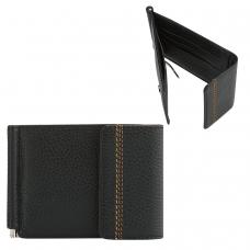 Зажим для купюр FABULA 'Brooklyn', натуральная кожа, контрастная отстрочка, 86х126 мм, черный, Z.11.BR