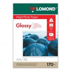 Фотобумага LOMOND для струйной печати, А4, 170 г/м2, 50 л., односторонняя глянцевая, 0102142