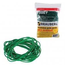Резинки банковские универсальные, BRAUBERG 1000 г, диаметр 60 мм, зеленые, натуральный каучук, 440103