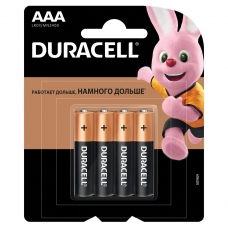 Батарейки DURACELL Basic, AAA LR03, 24А, алкалиновые, КОМПЛЕКТ 4 шт., в блистере, MN 2400 AAA LR3