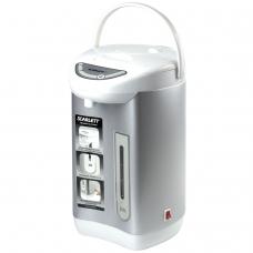 Термопот SCARLETT SC-ET10D01, 3,5 л, 750 Вт, 1 температурный режим, ручной насос, нержавеющая сталь, белый/серебристый