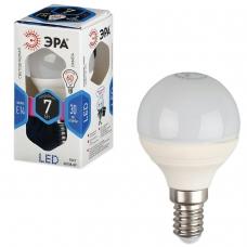 Лампа светодиодная ЭРА, 7 60 Вт, цоколь E14, шар, холодный белый свет, 30000 ч., LED smdP45-7w-840-E14