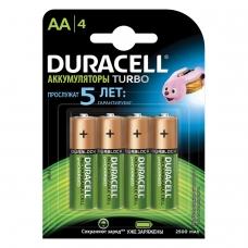 Батарейки аккумуляторные DURACELL, АА HR06, Ni-Mh, 2500 mAh, КОМПЛЕКТ 4 шт., в блистере, 81472345