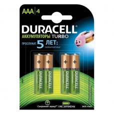 Батарейки аккумуляторные DURACELL, AAA HR03,Ni-Mh, 850 mAh, КОМПЛЕКТ 4 шт., в блистере, 81546826