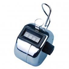Счетчик механический кликер, счет от 0 до 9999, корпус металлический, хром, BRAUBERG
