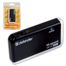 Хаб DEFENDER QUADRO INFIX, USB 2.0, 4 порта, порт для питания, 83504