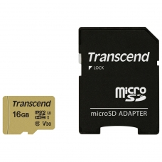 Карта памяти microSDHC 16 GB TRANSCEND UHS-I U1, 95 Мб/сек class 10, адаптер, TS16GUSD300S-A