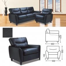 Кресло 'Наполи', 800х900х800 мм, c подлокотниками, экокожа, черное
