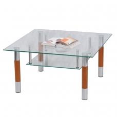 Стол журнальный, стекло/дерево/металл, Кристалл - ПК П, 1000х600х417 мм, хром, 1116