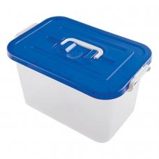 Ящик 10 л, с крышкой на защелках, 19х35х23 см, крышка с ручкой, пластик, синий/прозрачный, 4381000