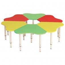 Стол детский 'Ромашка', 6 лепестков, 1300х1300х400-580 мм, регулируемый, рост 0-3 85-145 см, 3 цвета