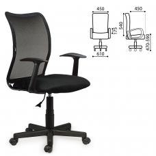 Кресло BRABIX 'Spring MG-307', с подлокотниками, черное, ткань TW, 531406