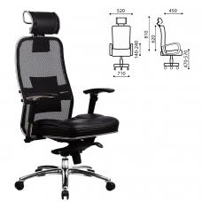 Кресло офисное МЕТТА 'SAMURAI' SL-3, с подголовником, сверхпрочная ткань-сетка/кожа, черное