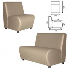 Кресло мягкое 'V-600', 550х750х780 мм, без подлокотников, экокожа, бежевое