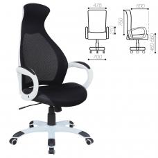 Кресло офисное BRABIX 'Genesis EX-517', пластик белый, ткань/экокожа/сетка черная, 531573
