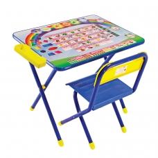 Стол детский + стул ДЭМИ, рост 2, складной, с пеналом, синий каркас, 'Алфавит'