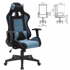 Кресло компьютерное BRABIX 'GT Racer GM-100', две подушки, ткань, черное/голубое