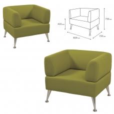 Кресло мягкое 'V-700', 730х820х720 мм, c подлокотниками, экокожа, светло-зеленое