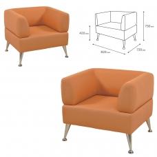 Кресло мягкое 'V-700' 820х720х730 мм, c подлокотниками, экокожа, оранжевое