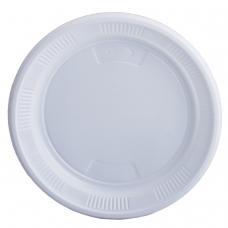 Одноразовые тарелки десертные, КОМПЛЕКТ 100 шт., пластик, d=170 мм, 'БЮДЖЕТ', белые, ПС, холодное/горячее, ЛАЙМА, 600942