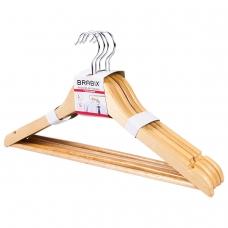 Вешалки-плечики, размер 48-50, КОМПЛЕКТ 5шт, деревянная, перекладина, цвет сосна, BRABIX 'Стандарт', 601159