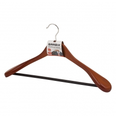 Вешалка-плечики, размер 48-50, деревянная, анатомическая, перекладина, цвет вишня, BRABIX 'Люкс', 601164