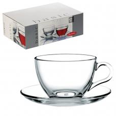Набор чайный 'Basic' на 6 персон 6 кружек 215 мл, 6 блюдец, стекло, PASABAHCE, 97948