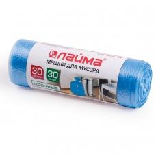 Мешки для мусора 30 л, синие, в рулоне 30 шт., ПНД, 10 мкм, 50х60 см ±5%, прочные, ЛАЙМА, 601378