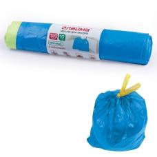 Мешки для мусора 120 л, завязки, синие, в рулоне 10 шт., ПВД, 35 мкм, 67х90 см ±5%, прочные, ЛАЙМА, 601399