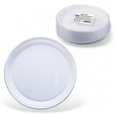 Одноразовые тарелки плоские, КОМПЛЕКТ 100 шт., пластик, d=220 мм, 'СТАНДАРТ', белые, ПП, холодное/горячее, ЛАЙМА, 602649