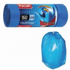 Мешки для мусора 160 л, с ушками, синие, в рулоне 10 шт., ПВД, 30 мкм, 90х125 см, PACLAN 'Multitop', 134442