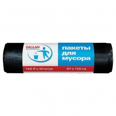 Мешки для мусора 160 л, черные, в рулоне 20 шт., ПВД, 30 мкм, 87х120 см, PACLAN 'Professional', 1338607