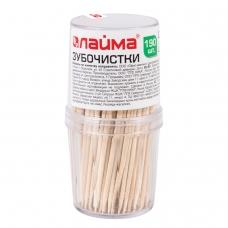 Зубочистки деревянные ЛАЙМА, КОМПЛЕКТ 190 штук, в диспенсере, 604770