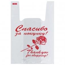 Пакеты 'майка', КОМПЛЕКТ 200 шт., 28+14х50 см, ПНД, 'Спасибо за покупку' Роза, 12 мкм, ЮПЛАСТ, ЮМАЙ1006