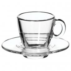 Набор кофейный на 6 персон 6 чашек объемом 72 мл, 6 блюдец, стекло, 'Aqua', PASABAHCE, 95756