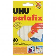 Подушечки клеящие UHU Patafix, 80 шт., бесследное удаление, многоразовые, белые, 39125