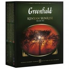 Чай GREENFIELD Гринфилд 'Kenyan Sunrise' 'Рассвет в Кении', черный, 100 пакетиков в конвертах по 2 г, 0600-09