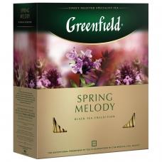 Чай GREENFIELD Гринфилд 'Spring Melody' 'Мелодия весны', черный с чабрецом, 100 пакетиков в конвертах по 1,5 г, 1065-09